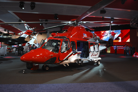 AgustaWestland AW139 helicopter on display at Heli-Expo 2014.