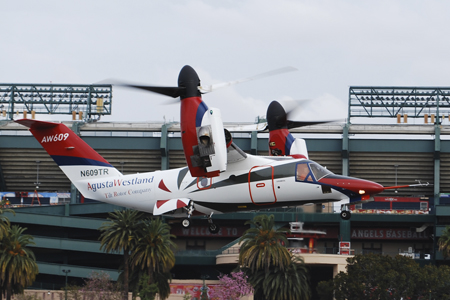 AgustaWestland AW609 landing at Anaheim's Angel Stadium during Heli-Expo 2014.