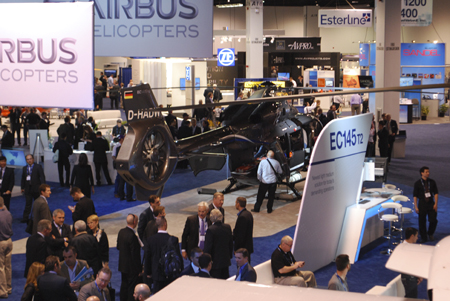A partial picture of Airbus Helicopters trade show booth at Heli-Expo 2014.