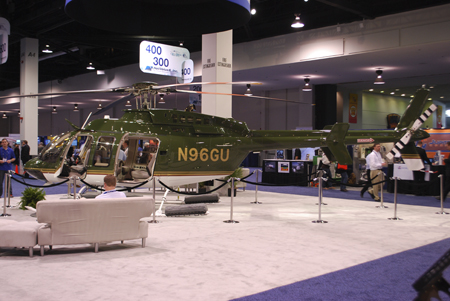 Harrison Ford's Bell 407GX helicopter on display at Heli-Expo 2014.