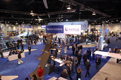 Partial picture of Airbus Helicopters trade show booth at Heli-Expo 2014.